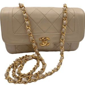 Authentic CHANEL Small Lambskin Diana Flap